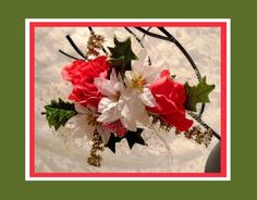 Vintage Rose Christmas Corsage 1960s Fabric by MrsFullersAttic