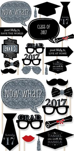 Graduation Party - Silver - Photo Booth Props Kit Easy Graduation Party Ideas for High School College Graduation Decorations Ideas on a Budget College Graduation Parties, Graduation Celebration, Graduation Decorations, Graduation Party Decor, Graduation Photos, Grad Parties, Photo Booth Props Graduation, Props For Photo Booth, Prom Photo Booth