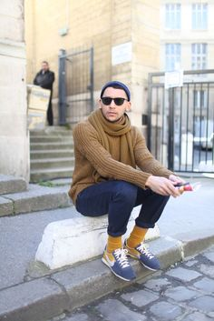 pulling color from his sneakers // Paris Fashion Week street style.