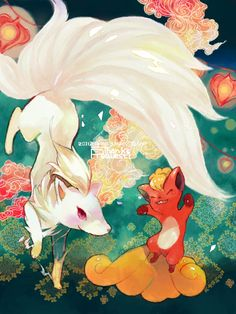Vulpix, Ninetales pokemon art