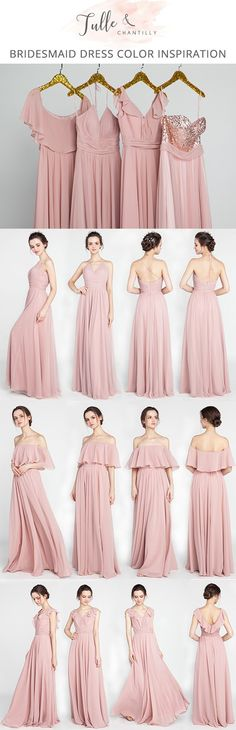 dusty pink long bridesmaid dresses from tulle and chantilly