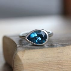 Large London Blue Topaz Sideswept Ring,Made of Recycled Sterling Silver and Made To Order via Etsy