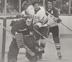 Ken Dryden and Phil Esposito vs. Soviet Player, 1972 Summit Series.