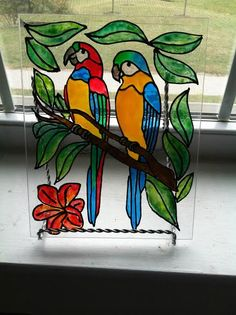 Faux Stained Glass Parrots