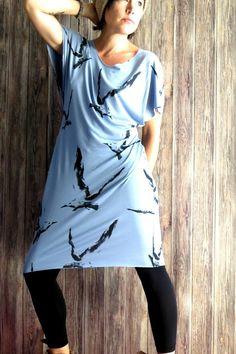 Blaues  Kleid aus Jersey mit Möwen,  , Sommer Kleid, Strand Kleid, Hippie Kleid…