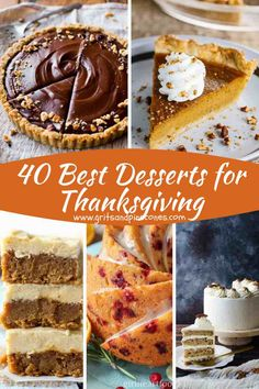 Turn your Thanksgiving into a true celebration with easy recipes and menu ideas from my 40 Best Desserts for Thanksgiving roundup. They are as delicious as they are beautiful. Easy Thanksgiving Recipes, Thanksgiving Desserts Easy, Make Ahead Desserts, Christmas Desserts, Easy Desserts, Holiday Recipes, Dessert Recipes, Thanksgiving Decorations, Thanksgiving Sides