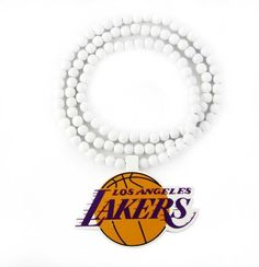 Wooden Bead Necklace: L.A. Lakers