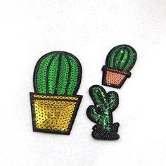 P188 1 Conjunto/3 pcs Mista Planta Verde Lantejoulas Patches Ferro em Adesivo para roupas Applique Parche DIY Crianças Decoração de festa de Natal