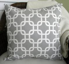 Decorative Throw Pillow Cover  Lattice Print  Gray by decorate23, $20.00