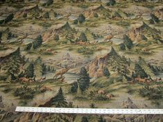 "Yukon northwest elk tapestry upholstery fabric ft138 $20.00 yd. railroaded 56 "" wide"