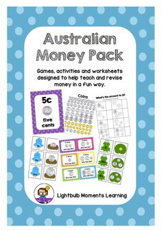 Australian Money Pack - Scoot, I have… Who has?, Matching Cards, Worksheets and more. So many fun ways for your kids to practise their skills with money.