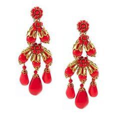 Miriam Haskell Red Chandelier Earrings