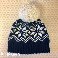 Knit look snowflake hay fine in crochet - free pattern - This hat is done in the waistcoat stitch to give it a knit look.