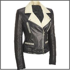 Black Rivet Leather Colorblock Lapel Cycle Jacket available at Wilsons Leather