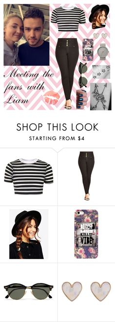 """""""Meeting the fans"""" by majerimia ❤ liked on Polyvore featuring Payne, Topshop, City Chic, ASOS, Ray-Ban, New Look and Braun"""
