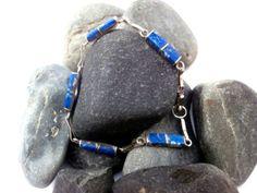 Vintage Silver Bracelet  Deep Blue Gemstone by ReTainReUse on Etsy, $30.00