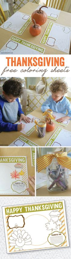 Thanksgiving Coloring Placemats by Lindi Haws of Love The Day