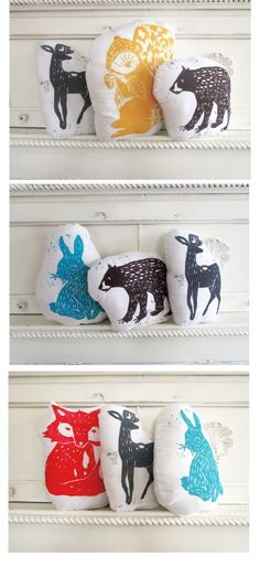 SALE. You pick any 3 Hand Printed Animal Pillows for  20% OFF. You choose animals and colors.. $39.00, via Etsy.