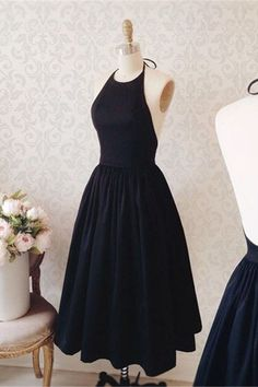 Backless prom dress, homecoming party dress, cute short black satin prom dress
