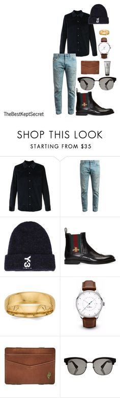 """""""street meets high fashion"""" by thebestkeptsecret on Polyvore featuring A.P.C., Gucci, Y-3, FOSSIL, Yves Saint Laurent, men's fashion and menswear"""