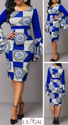 Tribal Print Side Zipper Flare Sleeve Sheath Dress * beautiful dresses, pretty dresses, holiday fashion, bodycon dress o Best African Dresses, Latest African Fashion Dresses, African Print Fashion, African Attire, Bodycon Dress Outfit, Outfits Dress, Casual Dresses, Sexy Dresses, Pretty Dresses