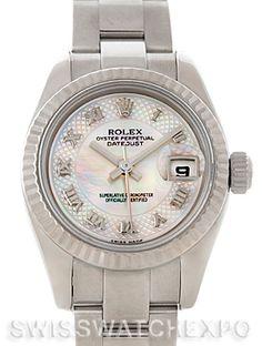 Rolex Datejust Ladies Steel 18K White Gold Watch 179174