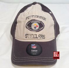 aa471c10e5d Pittsburgh Steelers Youth Boy s Girl s Distressed Relaxed Fit FlexFit Cap  Hat  Reebok  PittsburghSteelers