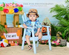 Hawaiian Tiki Hut Baby Photo Session Summer Baby Photos, Baby Boy Photos, Newborn Pictures, Baby Pictures, Hawaiian Baby, Hawaiian Tiki, Twin Baby Boys, Baby Cake Smash, Milestone Pictures