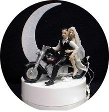 Bald Groom Top Beautiful Bride Bike Motorcycle Wedding Cake Topper Funny Ride