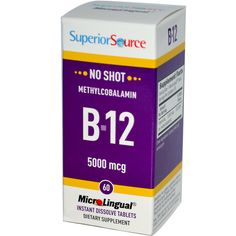Superior Source, MicroLingual, Methylcobalamin B12, 5000 mcg, 60 Tablets