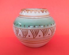 DANISH POTTERY Mid Century SIGNED Impressed Made in Denmark Haimof Hamid ? 23/11 cR Green Brown Cream Engraved Design Vintage Vase Pot Art Vintage Vases, Pottery Vase, Green And Brown, Danish, Denmark, Scandinavian, Appreciation, Mid Century, This Or That Questions