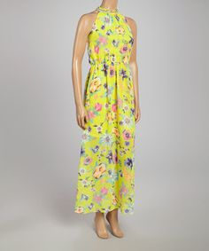 Yellow & Pink Floral Sleeveless Maxi Dress by Farinelli #zulily #zulilyfinds