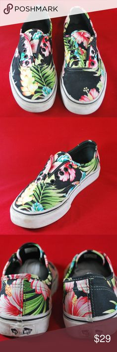 "Vans Shoes Unisex Hawaiin Black size W9 M7.5 VANS Authentic Aloha Hawaiian Floral Print Unisex Black Shoes Size W 9 M 7.5  Not in Original Box Color: Black Print: Floral Size: Men 7.5 Women 9 Condition: Excellent(No laces)  Measurements: Outsole Length:10 3/4"" Max sole Width: 3 3/4"" Max Shoe Height: 3"" Vans Shoes Flats & Loafers"