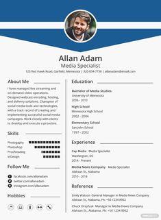 Free Media Resume Template #AD, , #AD, #Media, #Free, #Template, #Resume