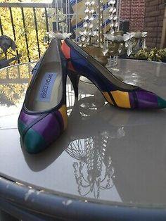 Vintage Sergio Rossi Leather Color Block Pumps  | eBay Leather High Heel Boots, Black Heel Boots, Black Leather Boots, Block Heel Loafers, Heeled Loafers, Heeled Boots, Stiletto Pumps, Pointed Toe Pumps, Women's Pumps