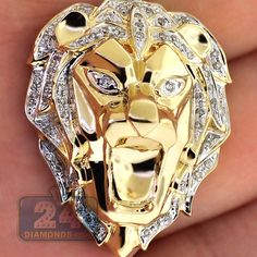 Mens Diamond Lion Head Pendant Solid 10K Yellow Gold 0.33 Carat