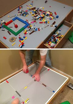 Convert your train table into a LEGO table. The best part about this upgrade is that the insert sits on top of the table, so it can be removed and used as a train table again whenever you want. http://hative.com/creative-lego-storage-ideas/