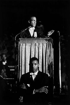Malcolm X gives a speech at a Nation of Islam rally, Washington, D.C., 1961.