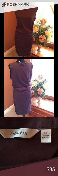 """🥀🍷NWOT Wine Colored Athleta Ruched Dress 🍷🥀 Gorgeous wine/burgandy colored dress. Ruching on both sides below waist. This is a super soft,super stretchy dress! It can be worn 2 ways: pull the ruching up to the waist(like picture)& have a nice blousy effect or pull it down straight & it makes a nice longer, leaner look for heels or wedges. You do not have to BE TALL TO WEAR TALL. I ❤tall bathing suits,dresses, etc. It gives me more coverage as the styles get shorter & tighter! 42""""…"""