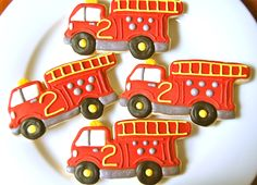 Fire Truck Cookies Fireman Party, Firefighter Birthday, Fireman Sam, Cookies For Kids, Cute Cookies, Royal Icing Cookies, Sugar Cookies, Cookie Designs, Cookie Ideas