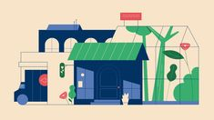 sarah beth morgan / capital one Building Illustration, House Illustration, Illustrations, Graphic Design Illustration, Motion Design, Design Thinking, Motion Graphs, Project Blue Book, Design Poster