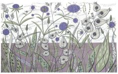 Angie Lewin is a lino print artist, wood engraver, screen printer and painter depicting the UK's natural flora in linocut and other limited edition prints. Angie Lewin, Yorkshire Sculpture Park, Bone Crafts, Affordable Art Fair, Print Artist, Limited Edition Prints, Screen Printing, Contemporary Art, Artwork