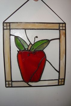 """Stained Hanging Glass Window Sun Catcher Red Apple 8"""" w Chain 
