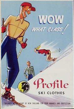 Profile Clothes Original Vintage Advertising Poster Ski clothes Date- ca 1950s