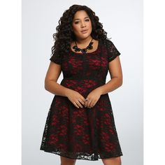 Torrid Lace Contrast Skater Dress ($69) ❤ liked on Polyvore featuring dresses, jester red, black skater dress, torrid dresses, lace skater dress, women plus size dresses and red skater dress