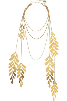 HERVÉ VAN DER STRAETEN  24-karat gold-plated leaf necklace
