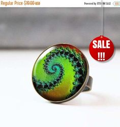 Green Picture Ring Colorful Statement Ring Bohemian Spiral Ring Glass Dome Psychedelic Photo Jewelry Wearable Art Fractal Art 13.30 USD StudioDbronze Green Ring Colorful Ring Statement Ring Bohemian Ring Bronze Ring Glass Dome Ring Psychedelic Art Photo Jewelry Wearable Art Fractal Art Photo Ring Spiral Ring 5002-2 #handmade #jewelry #etsy