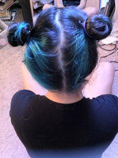 cool blue space buns