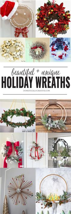 Beautiful and Unique Holiday Wreaths | Domestically Creative