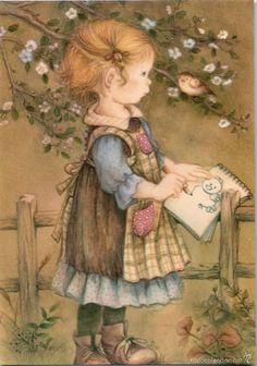 looks like a Lisi Martin illustration-but not positive Vintage Cards, Vintage Images, Hobby Horse, Holly Hobbie, Cute Illustration, Vintage Children, Cute Art, Illustrators, Art For Kids